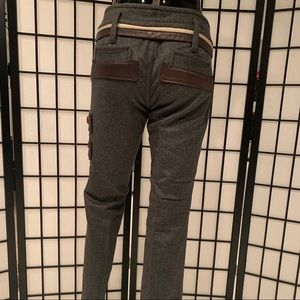 DSQUARED WOOL CASHMERE PANTS W/ LEATHER DETAIL